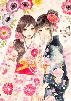 "tora-toravi: "" 浴衣 by miya "" Manga Anime, Anime Kimono, Watercolor Illustration, Watercolor Art, Samurai, Anime Japan, Cosplay, Japanese Artists, Fantastic Art"