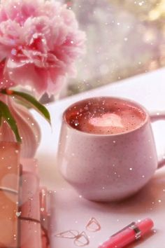 coffee gif Some pink coffee love to keep you going through the colder days Good Morning Flowers, Good Morning Gif, Good Morning Coffee, Good Morning Picture, Good Morning Greetings, Morning Pictures, Morning Images, Rainy Morning, Wednesday Morning