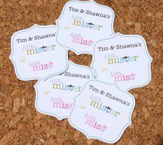 10 Little Mister Little Miss Stickers Baby Shower by LivLoveCruz