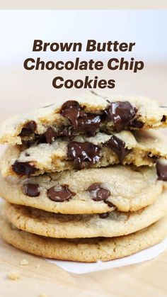 Brown Butter Cookies, Butter Chocolate Chip Cookies, Baking Recipes, Cookie Recipes, Dessert Recipes, Yummy Cookies, Cookies Soft, Crazy Cookies, Delicious Desserts