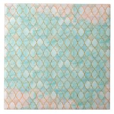 Light pink and Aqua Maroccan pattern Large Square Tile
