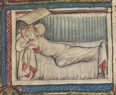 Roman de la rose . Date d'édition : 1340-1360 Type : manuscrit Langue : Français Pillow appears to be one long bolster. Ikea sells a long down bolster...