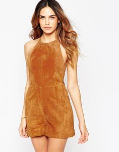 Image 1 of ASOS Halter Playsuit in Suede