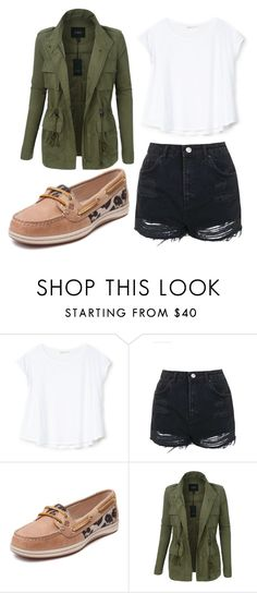 """First day of skool"" by crystal-ravell on Polyvore featuring Bershka, Topshop, Sperry and LE3NO"