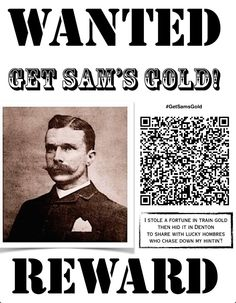 """Sam Bass is known as the """"beloved bandit"""" of Denton TX, and legend says this Texas Robinhood left gold treasure buried nearby! Do you have what it takes to #GetSamsGold on the Denton Square? Google sleuth the hunt! Denton Square, Round Rock Texas, Old West Outlaws, Metal Detecting, Wild West, Bass, History, Sayings, Google"""
