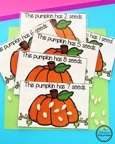 Preschool Pumpkin Activities by Planning Playtime Fall Preschool, Preschool Lessons, Preschool Learning, In Kindergarten, Preschool Halloween Activities, Pumpkin Preschool Crafts, Preschool Fingerplays, Pre K Activities, Thanksgiving Activities