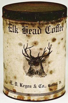Elk Head Coffee Coffee Stands, Coffee Tin, Coffee Love, Coffee Break, Vintage Tins, Vintage Coffee, Antique Coffee Grinder, Tea Tins, Coffee Packaging