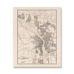 Portland Oregon Maple Wood Print Map 16 x 20 & by DesignOutfitters