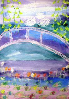 Monet's Bridge using crayons & a watercolor wash of blue, purple, & teal - kids love the wax resist!