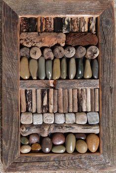 In Order- driftwood and stone wall art by Ballard Woods En orden: madera flotante y arte de pared de piedra de Ballard Woods Stone Crafts, Rock Crafts, Diy Arts And Crafts, Driftwood Wall Art, Driftwood Projects, Art Diy, Diy Wall Art, Wood Stone, Stone Art