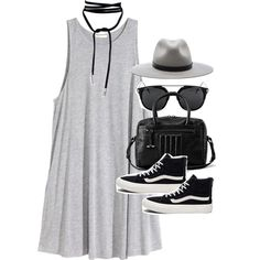 Outfit with a jersey dress and Vans by ferned on Polyvore featuring H&M, Vans, AllSaints and rag & bone