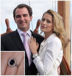Prince Nikolaos of Greece was thrilled when his Venezuela-born love Tatiana Blatnik accepted his proposal in 2010.  The London-based son of exiled King Constantine and Queen Anne-Marie got down on one knee and presented his bride-to-be with a custom-made ring centred upon an exquisite blue sapphire which once belonged to his mother – who had received it, in turn, from her own parents King Frederik IX and Queen Ingrid of Denmark.