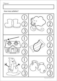 Worksheets & Activities - Winter (Beginning Skills). A page from the unit: Syllables: clap each word and listen to the syllables, then color the correct circle to show how many syllables are in the word.