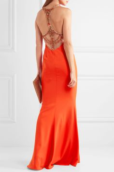 Marchesa Notte | Tulle-paneled embellished stretch-crepe gown | NET-A-PORTER.COM