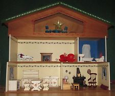 Large Dora Kuhn West Germany Doll House Dollhouse Furniture Handpainted 1960s