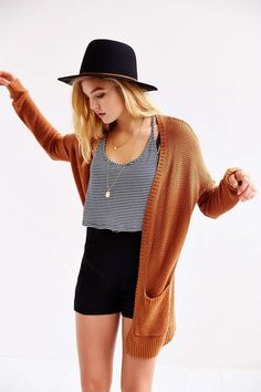 BDG London Cardigan from Urban Outfitters + jewelry and colour = cute!