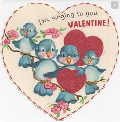 Bluebirds Are Singing to You Vintage Unused Die Cut Valentine Card Valentine Images, My Funny Valentine, Valentines Art, Vintage Valentine Cards, Little Valentine, Valentines Day Hearts, Valentine's Day Greeting Cards, Vintage Greeting Cards, Vintage Postcards