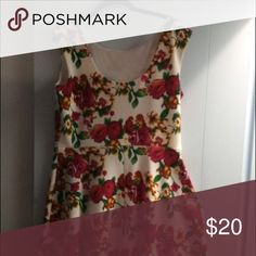 Floral dress White with red flowers; Stretchy fabric; flattering A-line cut Tiana B Dresses Midi