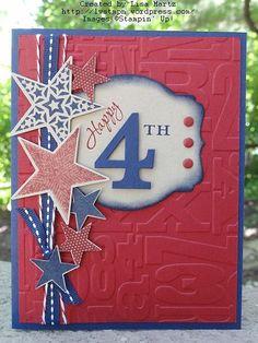 Stamp Sets:  Simply Stars, Memorable Moments Ink:  Night of Navy, Cherry Cobbler Paper:  Night of Navy, Cherry Cobbler, Crumb Cake Accessories:  Night of Navy stitched grosgrain, Cherry Cobbler baker's twine, Dimensionals, glue dots, Cherry Cobbler Candy dots, sponge daubers, Alphabet Press embossing folder, Deco Labels framelits, Typeset Alphabet Bigz die, Big Shot