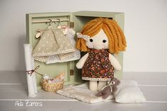PERSONALIZED RAG DOLL handmade with wooden box by AidaZamora