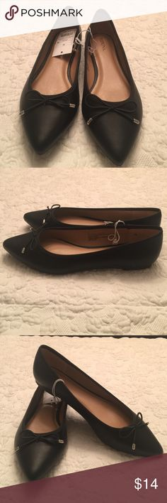 Merona: Black Ballet Flats, NEW. 2 sizes avail Pretty,  Traditional Pointed Toe Ballet Flats - Merona. Easily paired with everything in your closet. Faux Leather and accented with a bow at the toe. Never been worn Merona Shoes Flats & Loafers