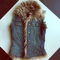 HP Rampage furry jean vest! Super cute!  It's a longer jean vest, with the faux fur edges.  Really pretty and brand new!!  The long cut makes it quite dressy.  Small or extra Small.  Brand new w/o tags! Rampage Jackets & Coats Vests