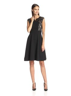 London Times Women's Lace Cap Sleeve Inset Waist Full Skirt ** Discover this special product, click the image : Women's dresses