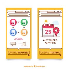 Banners of online training in flat design Free Vector