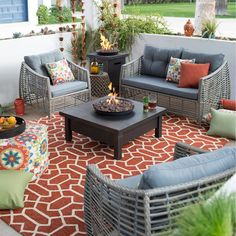 Belham Living Kambree All Weather Wicker Fire Pit Conversation Set - Fire Pit Patio Sets at Hayneedle