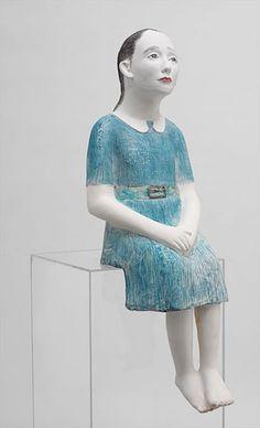 Kiki Smith, Girl with Blue Dress, 2003-2004, painted ceramic