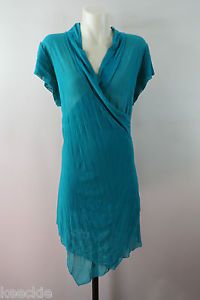 Size XL 16 Ladies Mesh Tunic TOP Chic Asymmetrical Wrap Stretch Work Boho Style | eBay