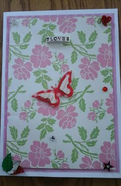Flower Love Card with envelope   21cxmx14.5cm by Bubucraft on Etsy