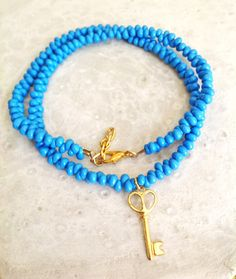 Blue beaded necklace by MASTICA on Etsy, $12.00