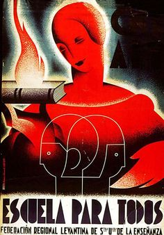 By Vicente Marco Ballester, School for all, Republican poster Spanish Civil War. (Spain)