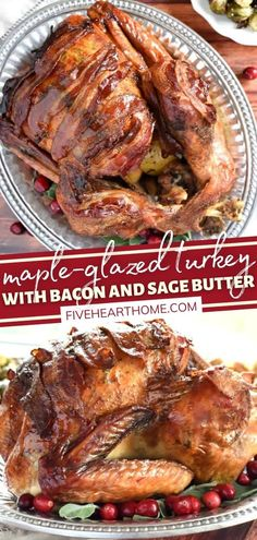 You might never cook this main dish another way once you try this easy recipe! With an undertone of sage and bacon, a sweet maple glaze that filters into the gravy, and crispy bacon strips, this tender, juicy turkey is the best you will ever taste! Put this on your menu! Simple Recipes, Unique Recipes, Fall Recipes, Holiday Recipes, Holiday Ideas, Entree Recipes, Meat Recipes, Cooking Recipes, Thanksgiving Dinner Recipes