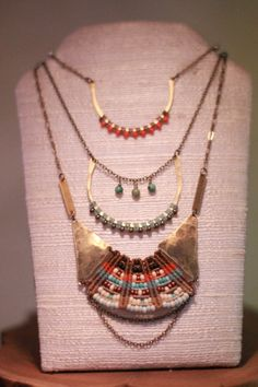 beautiful necklaces AMiRA jewelry designs - thread wrapped and beaded, simple hammered frames