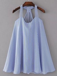 Shop Strappy Pinstripe Open Back Tent Dress online. SheIn offers Strappy Pinstripe Open Back Tent Dress & more to fit your fashionable needs. Kids Outfits, Summer Outfits, Cute Outfits, Dress Summer, Spring Summer, Tent Dress, Swing Dress, Latest Street Fashion, Mode Inspiration