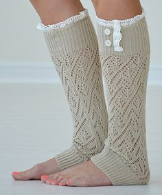 Look at this PeekABootSocks Natural Lace-Trim Darcy Leg Warmers on #zulily today!