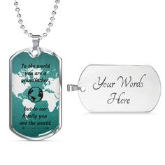 This is a unique gift to help celebrate that special grandpa in your life. You can make the dog tag extra special with your own personal message. The dog tag comes in gold and silver and prices start at $39.95.The message says: to the world you are a grandfather, but to your family you are the world.#specialgrandpagift #bestgrandpagift #personalizedgrandpagift Personalized Dog Tags, Personalized Necklace, Unique Gifts, Best Gifts, Love Lily, Glass Coating, You Are The World, Grandpa Gifts, Working Moms