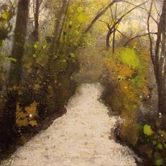 """The Road to Fantasy"" by Isabelle Amante. An original impressionist painting of a pathway through a forest. Beautiful colours and tones in this textured paintings.  l FineArtSeen - The Home Of Original Art >> Pin For Later <<"