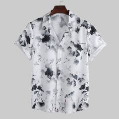 ChArmkpR Mens Summer Freshness Graffiti Printed O-neck Short Sleeve Loose Casual T-shirts on sale-NewChic Mobile Casual T Shirts, Casual Tops, Chemise Fashion, Camisa Floral, Style Chinois, White Casual, White Shirts, Summer Shirts, Shirt Style