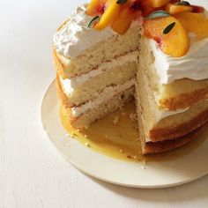 Peaches and Cream Cake from #ThePerfectEgg Cookbook by Spoon Fork Bacon