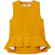 Marni Bonded Jersey Tank Top (10,670 MXN) ❤ liked on Polyvore featuring tops, orange, jersey tank top, orange tank, sleeveless tank tops, yellow sleeveless top and jersey peplum top