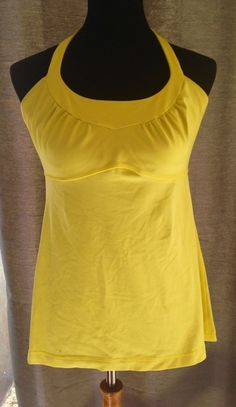 LULULEMON Scoop Me Up Yellow Luon Workout Yoga Tank Top sz 12  | eBay