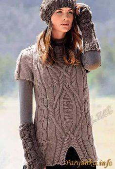 Туника, берет и митенки 420/421 Creations 11/12 BDF №1812 Cable Knitting, Knitting Yarn, Hand Knitting, Pulls, Hand Knitted Sweaters, Thick Sweaters, Sweaters For Women, Knitted Hats, Knit Fashion