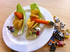 Leo's salmon Lego pirate ship dinner! Walking the carrot plank #kidscooking