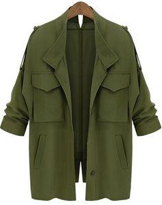 Army Green Long Sleeve Pockets Loose Coat 17.33