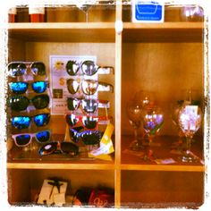 Find our hand painted Sun & Wine glasses on display at Rosenthal Estate Wines - Malibu.