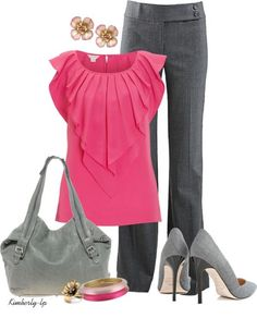 """pink and gray """"Office Wear"""" by kimberly-lp on Polyvore: Work Clothes, Fashion, Offices, Professional Outfit, Office Wear, Work Outfits, Pink And Gray, Business Casual, Pink Top"""