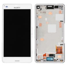 SONY #XPERIAZ3 compact LCD with digitzer assembly white with front housing. #icellspareparts